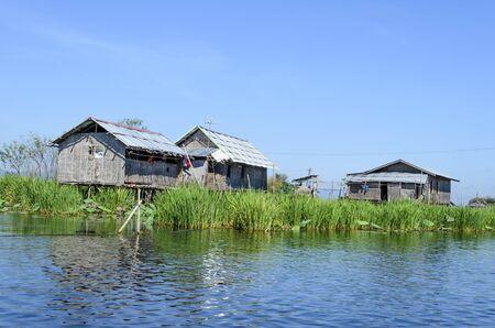 bamboo house: A bamboo house on stilts in Inle Lake, Burma (Myanmar).