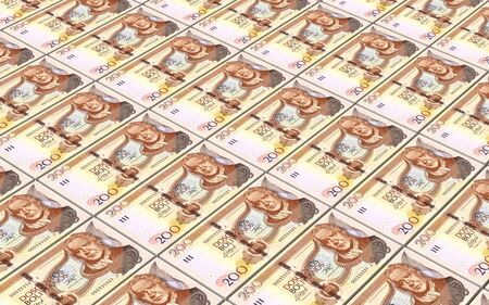 bolivian: Bolivian boliviano bills stacks background. Computer generated 3D photo rendering
