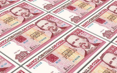 the cuban: Cuban pesos bills stacks background. Computer generated 3D photo rendering. Stock Photo