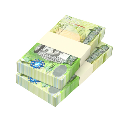 bahrain money: Bahraini dinar bills isolated on white background. Computer generated 3D photo rendering.