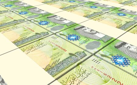 dinar: Bahraini dinar bills stacked background. Computer generated 3D photo rendering.