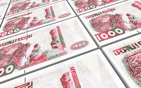 dinar: Algerian dinar bills stacked background. Computer generated 3D photo rendering. Stock Photo
