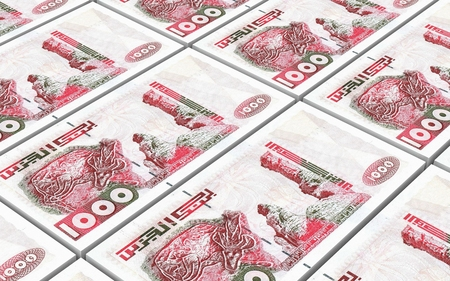 algerian: Algerian dinar bills stacked background. Computer generated 3D photo rendering. Stock Photo