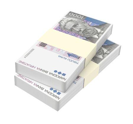 marten: Croatian kuna bills isolated on white background. Computer generated 3D photo rendering.