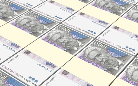 packaged: Croatian kuna bills stacks background. 3D photo rendering.