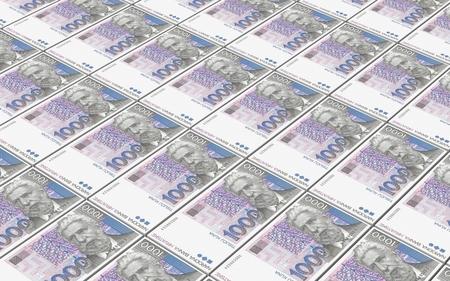croatian: Croatian kuna bills stacks background. 3D photo rendering.
