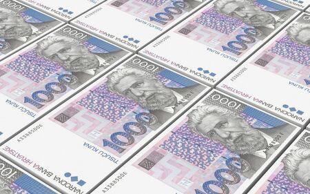 marten: Croatian kuna bills stacks background. 3D photo rendering.