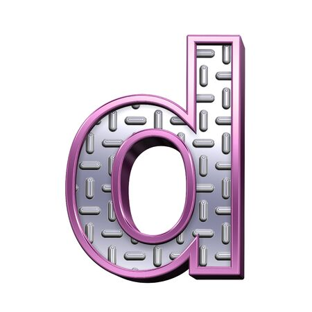 tread plate: One lower case letter from steel tread plate with purple frame alphabet set, isolated on white. Computer generated 3D photo rendering.