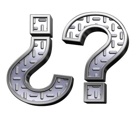 tread: Question mark from steel tread plate alphabet set, isolated on white. Computer generated 3D photo rendering. Stock Photo