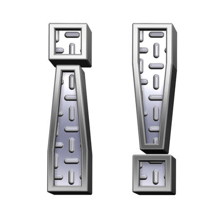 tread plate: Exclamation mark from steel tread plate alphabet set, isolated on white. Computer generated 3D photo rendering.