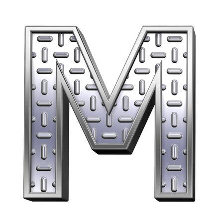 banda de rodamiento: Una carta de acero escultura conjunto de alfabeto de placa, aislado en blanco. Procesamiento de fotos 3D generados por ordenador.