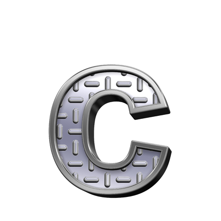 tread: One lower case letter from steel tread plate alphabet set, isolated on white. Computer generated 3D photo rendering. Stock Photo