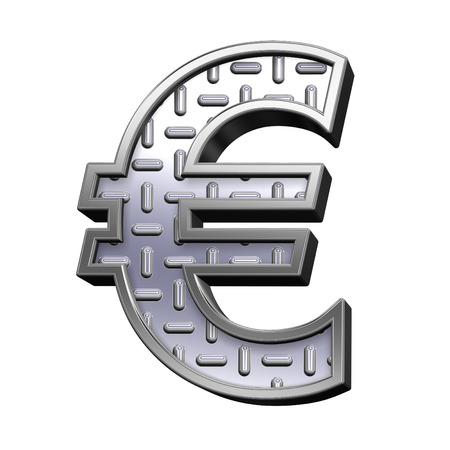 tread: Euro sign from steel tread plate alphabet set, isolated on white. Computer generated 3D photo rendering. Stock Photo