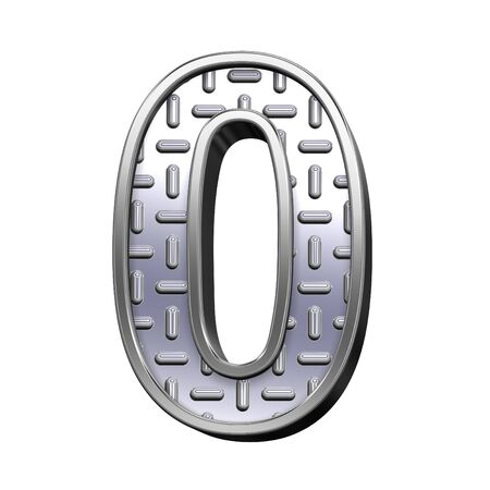 tread: One digit from steel tread plate alphabet set, isolated on white. Computer generated 3D photo rendering.