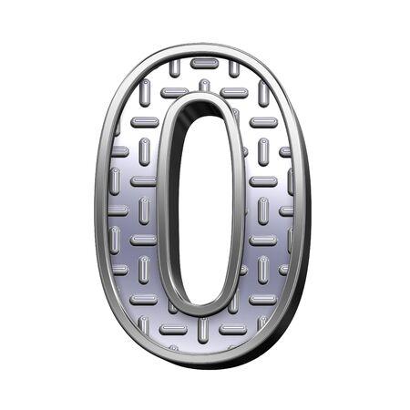 banda de rodamiento: Un d�gito de acero de rodadura conjunto de alfabeto de placa, aislado en blanco. Procesamiento de fotos 3D generados por ordenador.