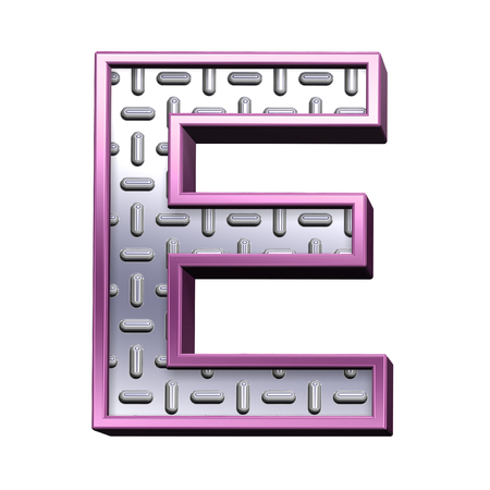 tread plate: One letter from steel tread plate with purple frame alphabet set, isolated on white. Computer generated 3D photo rendering.