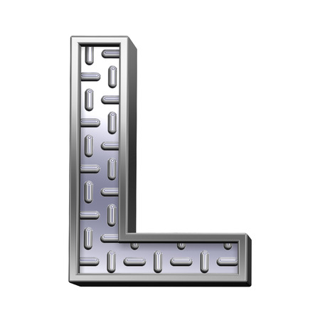 tread: One letter from steel tread plate alphabet set, isolated on white. Computer generated 3D photo rendering.