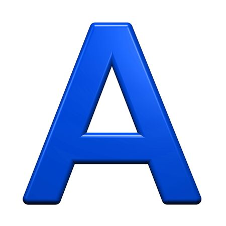 blue metal: One letter from blue alphabet set, isolated on white. Computer generated 3D photo rendering.