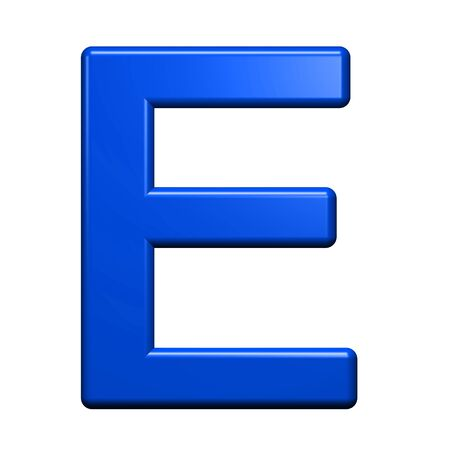 metal letters: One letter from blue alphabet set, isolated on white. Computer generated 3D photo rendering.