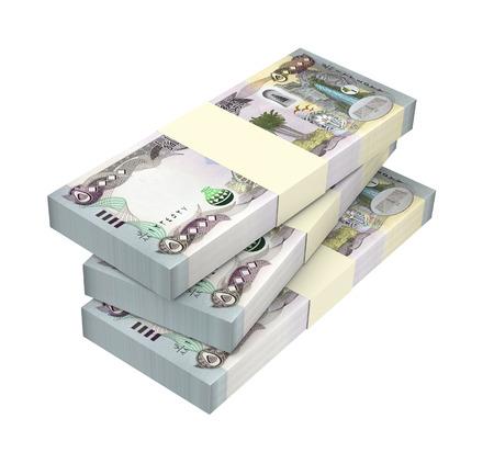 iraqi: Iraqi dinars bills isolated on white background. Computer generated 3D photo rendering.