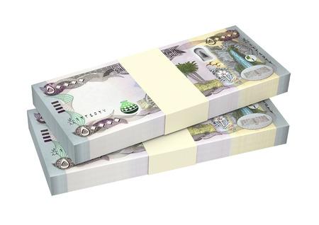 iraq money: Iraqi dinars bills isolated on white background. Computer generated 3D photo rendering.