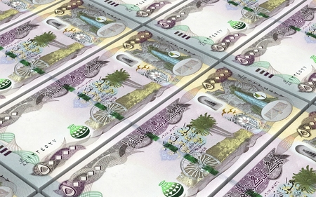 iraqi: Iraqi dinars bills stacked background. Computer generated 3D photo rendering.