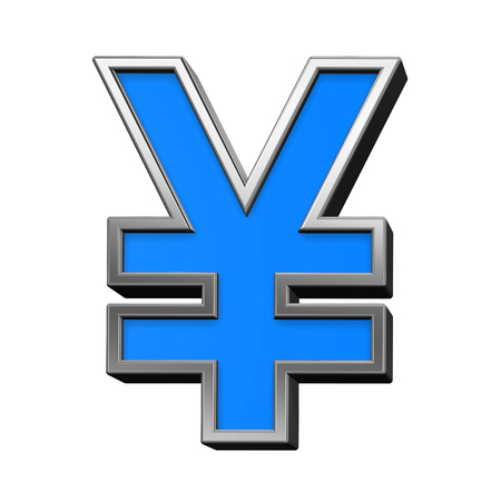 yen sign: Yen sign from blue with silver shiny frame alphabet set, isolated on white. Computer generated 3D photo rendering.