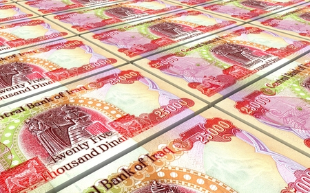 iraq money: Iraqi dinars bills stacked background. Computer generated 3D photo rendering.