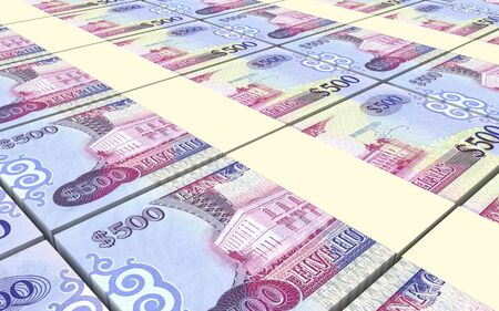 prespective: Guyanese dollars bills stacks background. Computer generated 3D photo rendering.