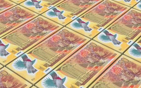 prespective: Trinidad and Tobago dollar bills stacks background. Computer generated 3D photo rendering.