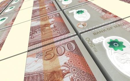 five rupee: Mauritian rupee bills stacked background. Computer generated 3D photo rendering. Stock Photo