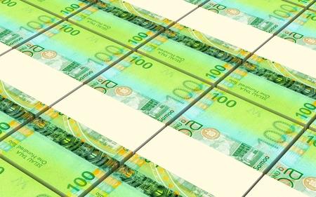 profitability: Samoan tala bills stacks background. Computer generated 3D photo rendering