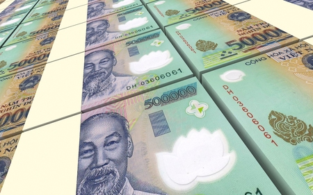 dong: Vietnamese dong bills stacks background. Computer generated 3D photo rendering.