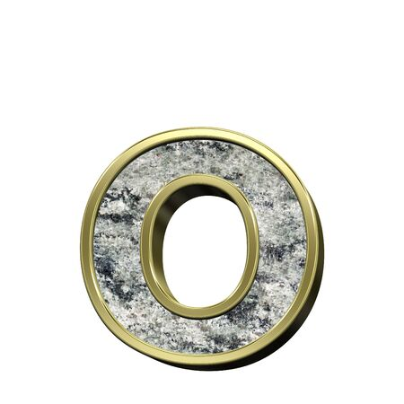 lower case: One lower case letter from granite with gold frame alphabet set isolated over white. Computer generated 3D photo rendering.
