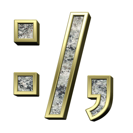 comma: Colon, semicolon, period, comma from granite with gold frame alphabet set isolated over white. Computer generated 3D photo rendering.