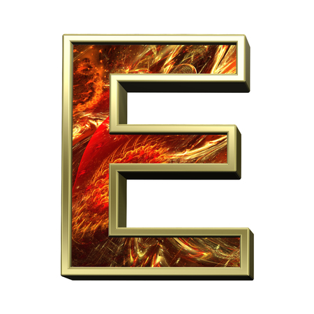 fire alphabet: One letter from fire alphabet set isolated over white. Computer generated 3D photo rendering.