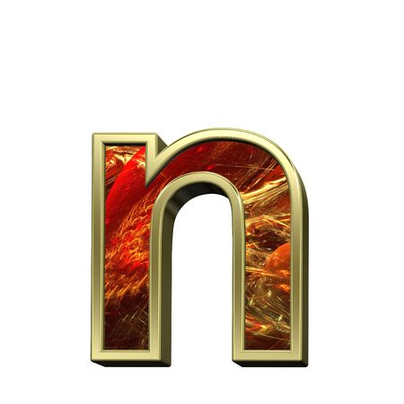 lower case: One lower case letter from fire alphabet set isolated over white. Computer generated 3D photo rendering.
