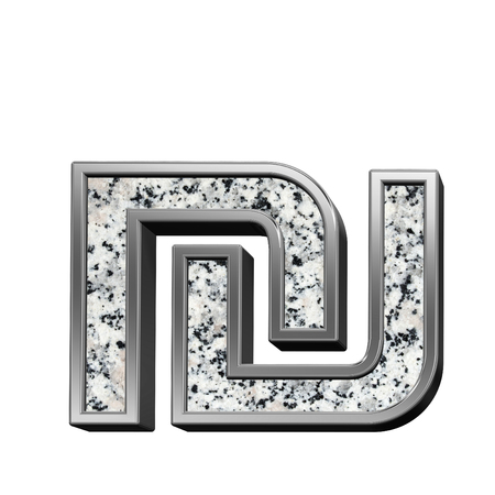 sheqel: Sheqel sign from granite with silver frame alphabet set isolated over white. Computer generated 3D photo rendering. Stock Photo