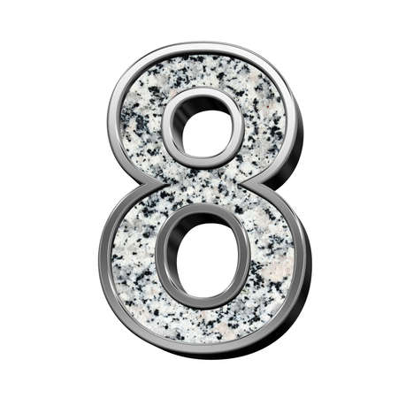 silver frame: Number from granite with silver frame alphabet set isolated over white. Computer generated 3D photo rendering. Stock Photo