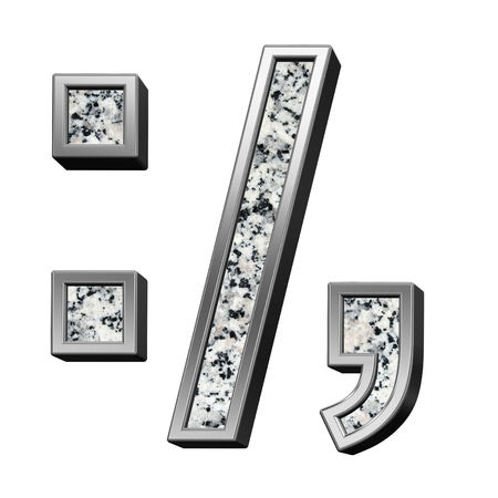 Colon, semicolon, period, comma from granite with silver frame alphabet set isolated over white. Computer generated 3D photo rendering. Stock Photo