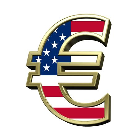 metal alphabet: Euro sign from american flag alphabet set isolated over white. Computer generated 3D photo rendering.