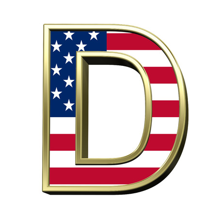 metal alphabet: One letter from american flag alphabet set isolated over white. Computer generated 3D photo rendering. Stock Photo