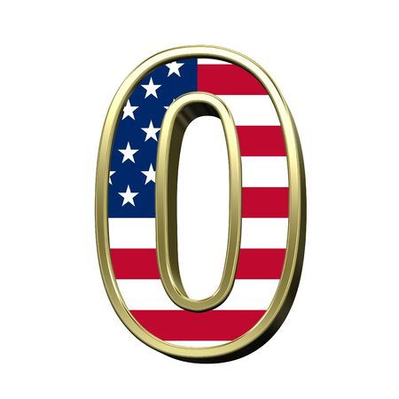 metal alphabet: Number from alphabet set american flag isolated over white. Computer generated 3D photo rendering. Stock Photo