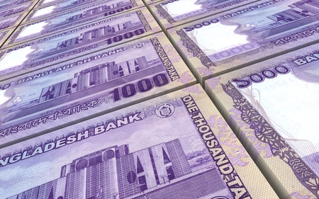 bangladesh 3d: Bangladeshi such bills stacks background. Computer generated 3D photo rendering