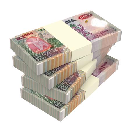 zambian: Zambian kwacha bills isolated on white background. Computer generated 3D photo rendering. Stock Photo