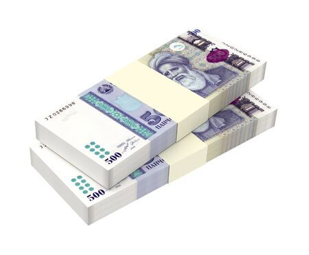 economy of tajikistan: Tajikistani Somoni bills isolated on white background. Computer generated 3D illustration.