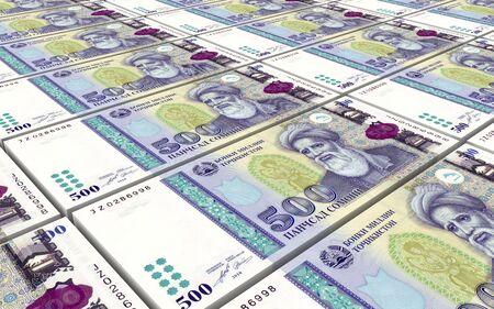bills: Tajikistani Somoni bills stacks background. 3D illustration. Stock Photo