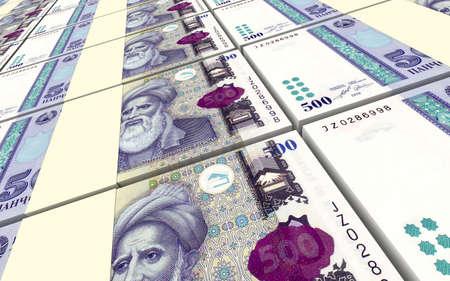 economy of tajikistan: Tajikistani Somoni bills stacks background. 3D illustration. Stock Photo