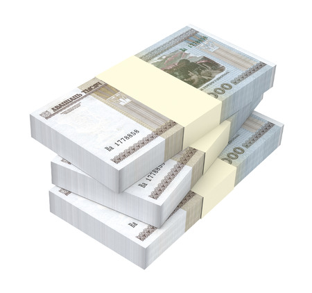 packaged: Belarusian rubles bills isolated on white background. 3D illustration.