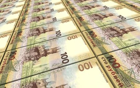 bills: Russian ruble bills stacks background. 3D illustration.